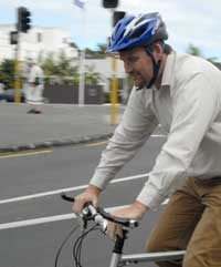Bernard Hickey Riding His Bike Down Kelmarna Road