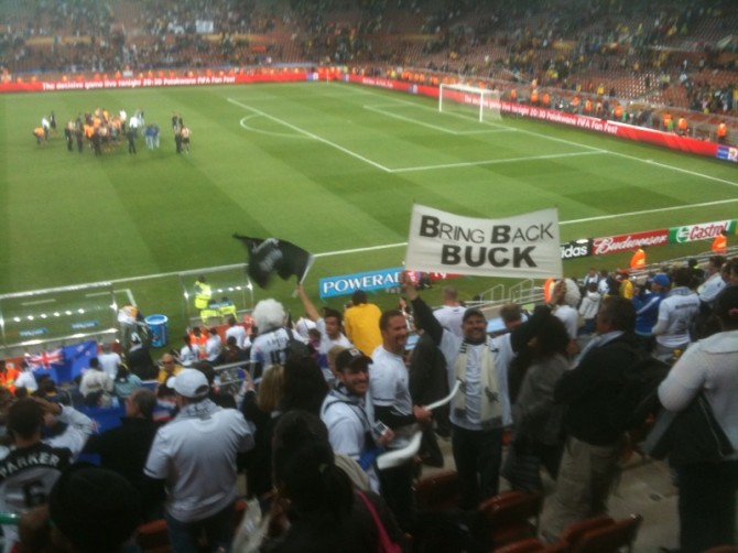 Bring Back Buck sign at the All Whites vs Paraguay Football World Cup match in South Africa,
